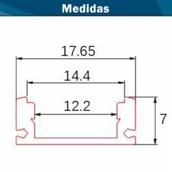 medidas del Perfil Aluminio Superficie Micro con difusor