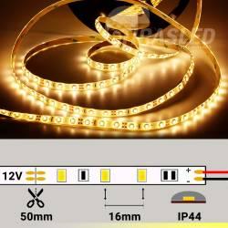 Tira LED 4,8W/m 12V 60 LEDs/M 3528 Luz Cálida 2700K con rollo encendido y medidas