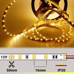 Tira LED Diodo Lateral 12V 7W IP20 Luz Cálida 3000K encendida y desplegada