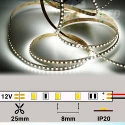 Tira de LED 12V 9,6W/m IP20 Luz Blanca 6000K encendida y suelta con medidas