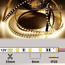 Tira de LED 12V 9,6W/m IP20 Luz Neutra 4000K encendida con medidas de corte