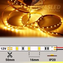Tira de LED 12V 4,8W/m IP20 Luz Cálida 3000K encendida y extendida