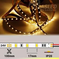 Rollo de Tira LED 24V 14,4W 60 LEDs/m 5050 3000K encendido y con medidas de corte