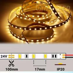 Rollo de Tira LED 24V 14,4W 60 LEDs/m 5050 2700K encendido y con medidas de corte