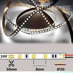 Rollo de Tira LED 24V 28,8W IP20 Luz Blanca 6000K encendido con medidas de corte