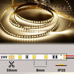 Rollo de Tira LED 24V 28,8W IP20 Luz Neutra 4000K encendido y con medidas de corte