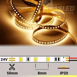 Rollo de Tira LED 24V 28,8W IP20 Luz Cálida 3000K encendida y con medidas de corte