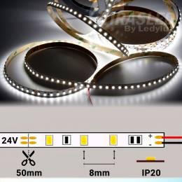 Rollo de Tira LED 24V 9,6W 120 LEDs/m 3528 6000K encendida