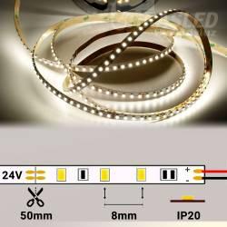 Rollo de Tira LED 24V 9,6W 120 LEDs/m 3528 4000K encendida y con medidas de corte