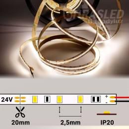 Rollo de Tira LED 24V 18W 350 LEDs/m 2110 4000K encendido con medidas de corte