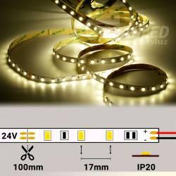 Rollo de Tira LED 24V 14,4W 60 LEDs/m 5050 4000K encendido y con medidas de corte