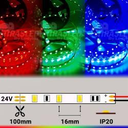 Rollo de Tira LED 24V 14,4W IP20 RGB Cambio Color con medidas y muestras encendidas de color rojo, verde y azul