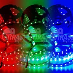 Rollo de Tira LED 24V 14,4W IP20 RGB Cambio Color y muestras encendidas de color rojo, verde y azul