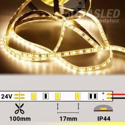 Rollo de Tira LED 24V 14,4W 60 LEDs/m 5050 IP44 3000K encendido y con medidas de corte