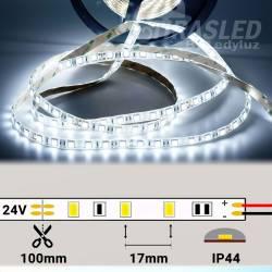 Rollo de Tira LED 24V 14,4W IP44 Luz Blanca 6000K encendida y con medidas de corte