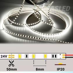 Rollo de Tira LED Slim 4mm 24V 9,6W IP20 Luz Blanca 5000K encendida y con medidas de corte