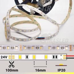Rollo de Tira LED 24V 19W 60 LEDs/m IP20 RGB + Cálido 3000K