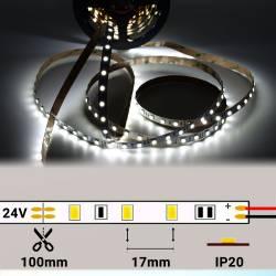 Rollo de Tira LED 24V 14,4W 60 LEDs/m 5050 6000K encendido y con medidas de corte