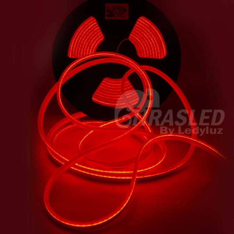 Neón LED Flexible 6*13mm 24V 14W IP65 Luz Roja encendida y desenrollada