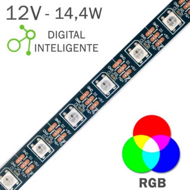 Tira LED 12V 5050 IP20 con 60 Leds x metro IP20 digital pixel RGB corte muestra