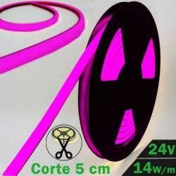 Rollo de Neón Flex LED 24V 14,5W IP65 Alta Potencia Luz Morada encendida y desenrollada con datos técnicos