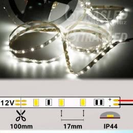 Tira de LED Flexible S 12V 11W IP20 Luz Blanca 6000K encendida en rollo desplegado con medidas de corte y datos técnicos