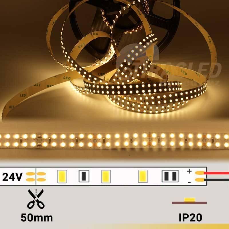 foto de TIRA LED DOBLE 24V 19,2W 240 LEDs/M 3528 3000 cálida encendida con datos técnicos
