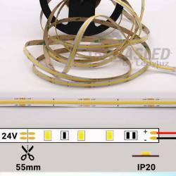 foto de Tira LED COB 24V 12W IP20 Luz Blanca 6000K apagada con datos técnicos zoom