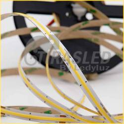 foto Tira LED COB 24V 12W IP20 Luz Neutra 4000K apagada zoom