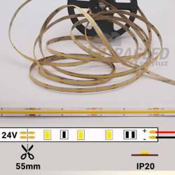 foto Tira LED COB 24V 12W IP20 Luz Neutra 4000K apagada con datos técnicos