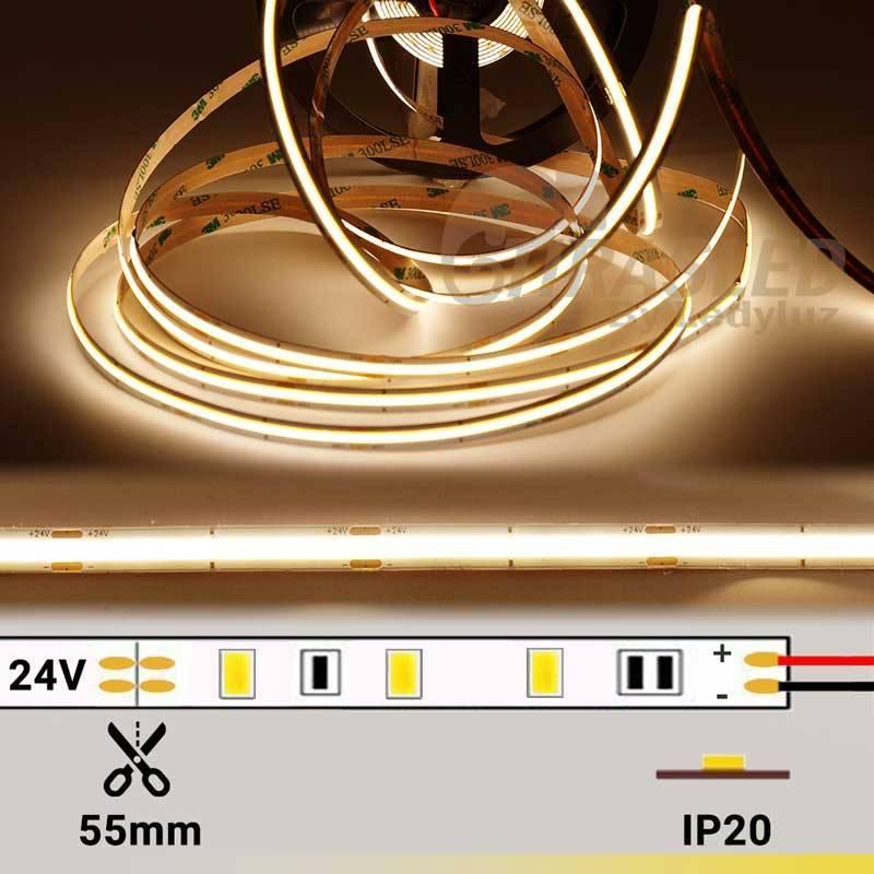 foto de Tira LED COB 24V 12W IP20 Luz Cálida 3000K encendida con datos técnicos
