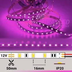 foto TIRA LED 12V 14,4W 60 LEDs/M 5050 LUZ ROSA / VIOLETA encendida con datos técnicos