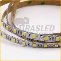 Detalle de la tira LED y diodos de color amarillo 12V.