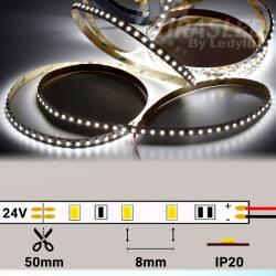 Rollo de Tira LED 24V 9,6W 120 LEDs/m 3528 6000K encendida y con medidas de corte