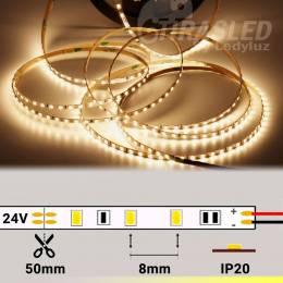 Rollo de Tira LED Slim 4mm 24V 9,6W IP20 Luz Cálida 3000K encendido