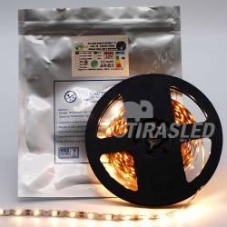 Tira de LED Flexible S 12V 11W IP20 Luz Cálida 3000K encendida y desplegada