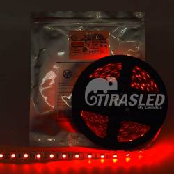 Tira LED 12V 14,4W IP20 Luz Roja encendida en rollo y  bolsa