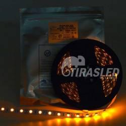TIRA LED 12V 14,4W 60 LEDs/M 5050 LUZ Ambar - Amarillo encendido y rollo desplegado