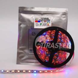TIRA LED 12V 14,4W 60 LEDs/M 5050 GROW LIGHT 3 pcb encendido, apagado, adhesivo y medidas de corte