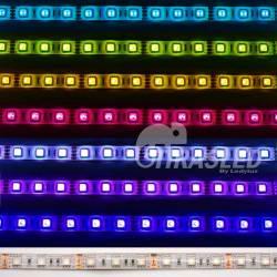Tira LED 12V 14,4W IP44 RGB Cambio Color muestras de colores encendida