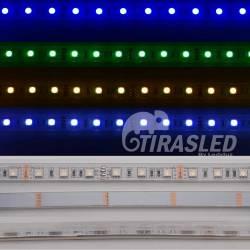 Rollo 5 metros Tira LED 12V 14,4W IP65 RGB Cambio Color muestras de colores encndida y apagada.
