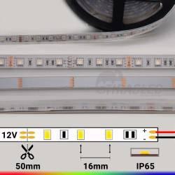 Rollo 5 metros Tira LED 12V 14,4W IP65 RGB Cambio Color con medidas de corte