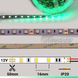 Tira LED 12V 14,4W IP20 Luz Verde con medidas y encendido