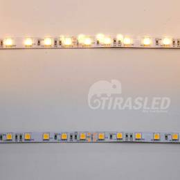 Tira LED 24V 14,4W 60 LEDs/m 5050 3000K 2 muestras de PCB apagado y encendido