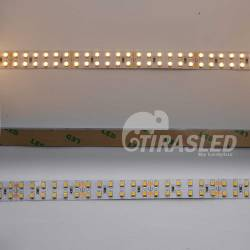 3 muestras de TIRA LED DOBLE 24V 19,2W 240 LEDs/M 3528 3000K encendido, apagado y adhesivo