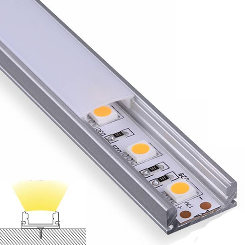 Perfil Aluminio Superficie Micro con difusor abierto de ejemplo