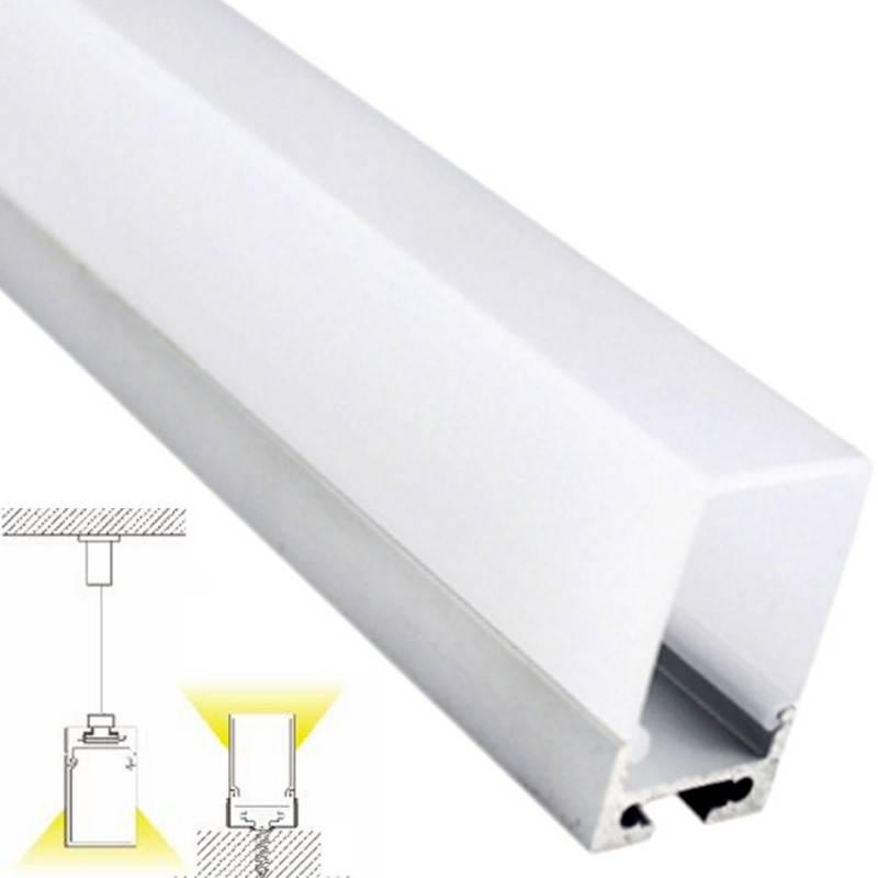 Barra 2 Metros Perfil Aluminio Suspensión con Difusor para tiras de LED
