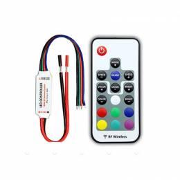 Controlador LED 12V / 24V RGB 12A con Mando