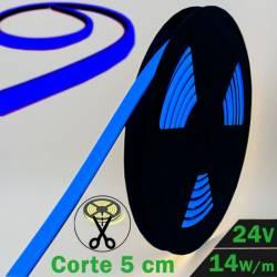 Rollo de Neón Flex LED 24V 14,5W IP65 Alta Potencia Luz Azul encendido y con datos técnicos