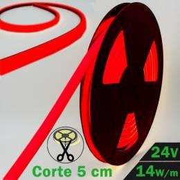 Rollo de Neón Flex LED 24V 14,5W IP65 Alta Potencia Luz Roja encendido y con datos técnicos